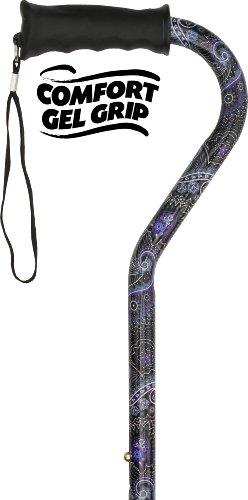 Purple Flowers Rubberized Design - Purple Majesty Adjustable Offset Walking Cane With Comfort Gel Grip