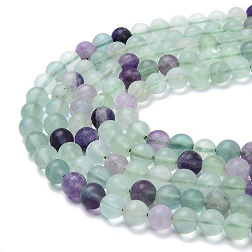 - PLTbeads Gorgeous Flourite Natural Gemstone Loose Beads 6mm Matte Approxi 15.5 inch DIY Bracelet Necklace for Jewelry Making
