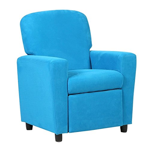 Kids Sofa Armrest Chair Contemporary Blue Microfiber Kids Recliner Children Living Room Toddler Furniture Contemporary Suede Sofa