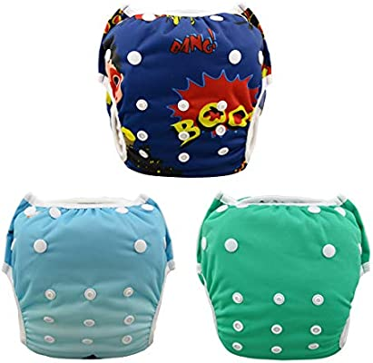 Ideal for Swimming Lessons//Holiday 2 Pcs Pack Washable Swimming diapers for Baby Boys /& Girls Teamoy Reusable Swim diapers