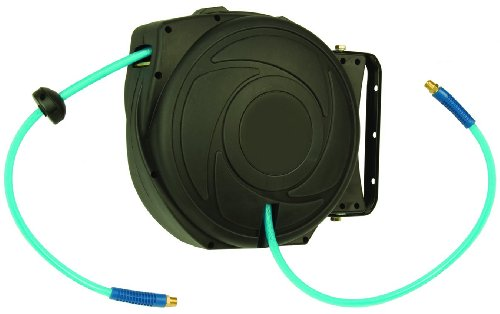 Amflo 530HR-RET Automatic Enclosed Hose Reel With 300 PSI 1/4'' x 50' Blue Polyurethane Air Hose by Amflo