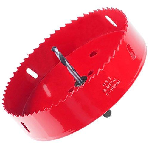 Acrux7 Cornhole Boards Hole Saw Blade, 6 inch (152mm) Corn Hole Drilling Cutter for Cornhole Game, Heavy Duty Steel Design(Red)