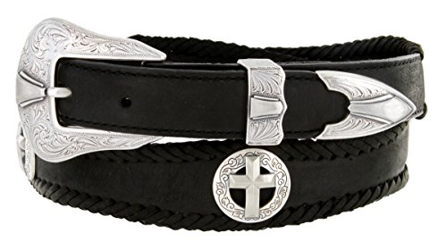 Silver Christian Cross Conchos Western Leather Scalloped Belt Black 46