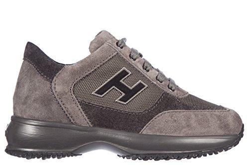 Hogan scarpe sneakers bambino camoscio nuevo interactive h flock gris