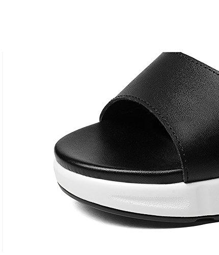 Estate Velcro Fondo Pattini Di Piattaforma Dei Zcjb Studenti Casuale Nero Della Donne Scarpe Sandali Pendenza Semplice Delle gT0q4zw
