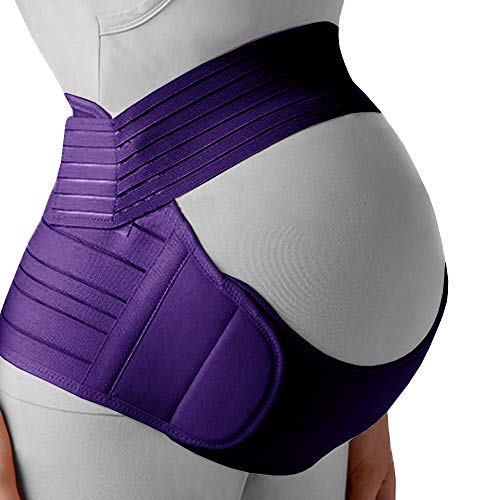 Belly Band for Pregnancy, Pregnancy Belt - Maternity Belt for Back Pain. Prenatal - Pregnancy Support Belt with Adjustable/Breathable Material. Back Support for Pregnant Women. Purple Color/Size S