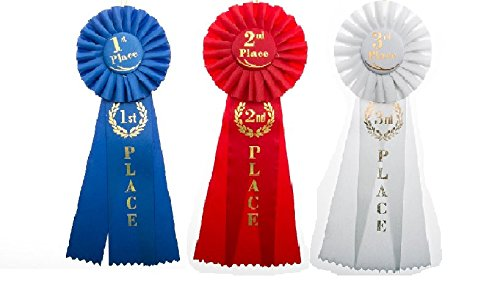 1st, 2nd, 3rd Place Rosette Award Ribbons Set - 1 of Each Ribbon Included 2 Awards