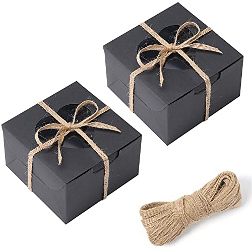 VGoodall 14 PCS Black Bakery Boxes with Window Cupcake Gift Boxes,18M Linen Ribbon for Bakery Wrapping Party Favor Packing