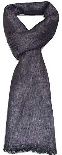 (100% Linen, Two Tone Color, Herringbone Jacquard, Soft, Airy, Large, Linen scarf. (Lavender & Grey))