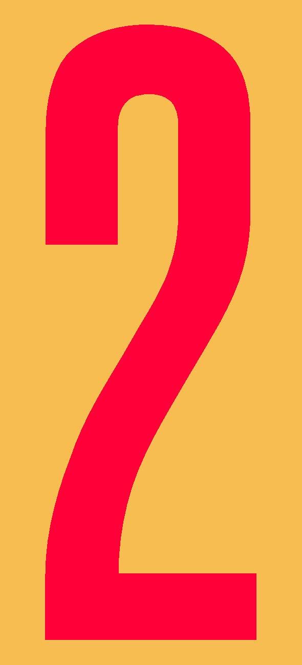 60mm, schwarz wei/ß oder rot Ziffer 2 in schwarz seewasserfest selbstklebend aus HartPlastic,15mm bis 200mm f/ür innen und au/ßen