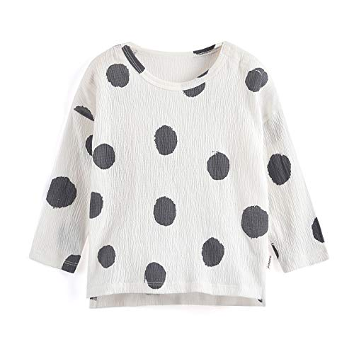- Aimama Toddler Baby Long Sleeve T-Shirts Summer 100% Cotton Tee Dot Printed White Tops Clothes for 1-6Y Girls Boys