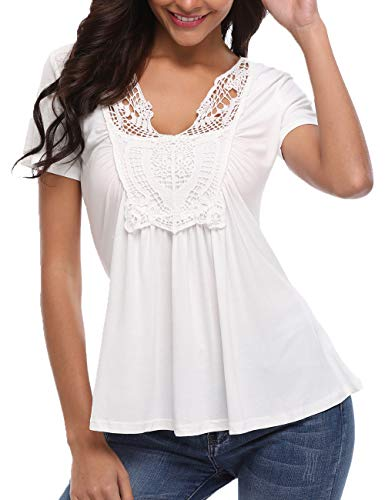 Ruched Front Blouse - MISS MOLY Women's Short Sleeve Shirt V Neck Ruched Pleated Front Casual Lace Tops Blouse White S