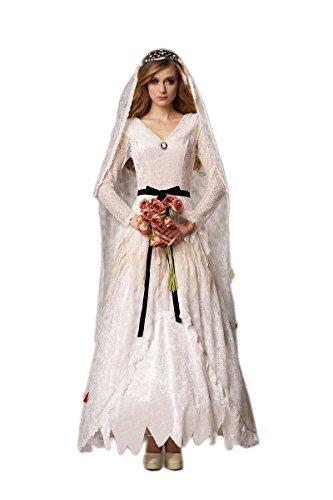 HGM Costume Women's Plus-Size Corpse Bride, White/Black, X-Large