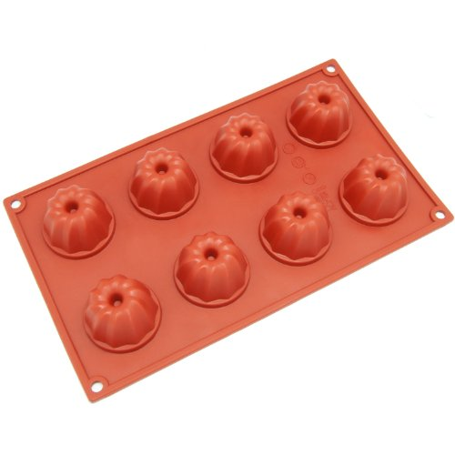 Freshware SM-109RD 8-Cavity Silicone Mini Bundt, Coffe Cake, Muffin, Cupcake, Brownie and Cornbread Mold