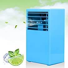 LOHOME Mini Desk Air conditioner Fan - 3 Speed Humidify and Cooler Fan Spraying Air Conditioning - Quiet Protable Bladeless Fan (Blue)