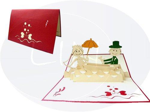 LIN Pop Up Biglietti di Matrimonio Inviti, matrimonio, 3d copertura Valentin biglietti di auguri, biglietti di auguri matrimonio, coppia di sposi in barca LIN ArtDesign 71