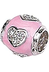 Zable Sterling Silver Pink Enamel and CZ Heart Oval Bead