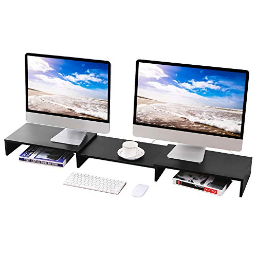 5Rcom Dual Monitor Stand 3 Shelf Desk Riser with Adjustable Length and Angle Multifunctional Screen Stand for Laptop Computer/TV/PC, Desk, Printer ()