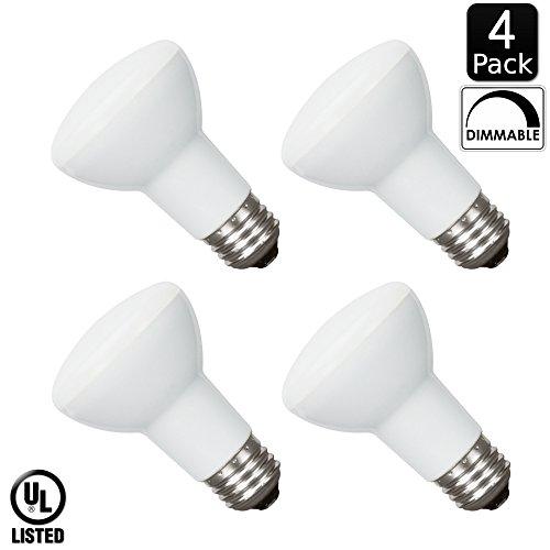 Luxrite LR31805 (4-Pack) 8-Watt LED BR20 Flood Light Bulb, 50W Equivalent, Dimmable, Daylight 6500K, 450 Lumens, E26 Base, UL Listed - Flood Standard Base