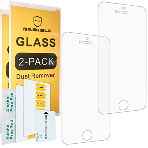 [2-PACK]-Mr Shield For iPhone SE / iPhone 5/5S / iPhone 5C [Tempered Glass] Screen Protector with Lifetime Replacement Warranty 5c Shield