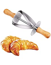 OCPO Croissant Cutter Roller - Croissant Maker Stainless Steel Roller Slices with Oaken Handle Perfect Shaped Pastry Dough, Rolling Knife Kitchen Baking Tools