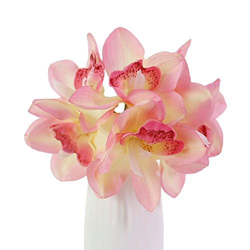 Medium Cymbidium (JAROWN 6 pcs Artificial Cymbidium Orchid Real Touch Flowers Bouquet for Kitchen Living Room Decoration(Pink))