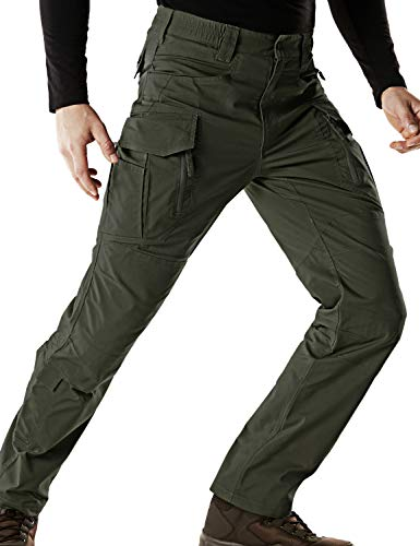 CQR Men's Flex Stretch Tactical Work Outdoor Operator Rip-Stop Trouser Pants EDC, Flexy Cargo Zip(tfp521) - Green, 32W/30L - Mens Pants Trousers