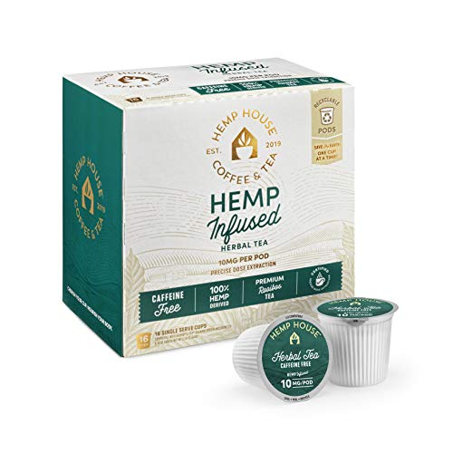 41592tlV0TL - Hemp House Hemp Infused Herbal Tea, 16ct. Gourmet Fair Trade Rooibos Tea Packed in Recyclable Single Serve Pods, K-cup compatible including 2.0