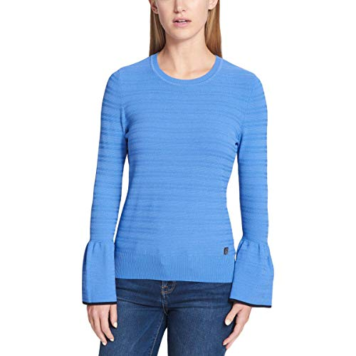 (Tommy Hilfiger Womens Bell Sleeves Textured Crewneck Sweater Blue S)