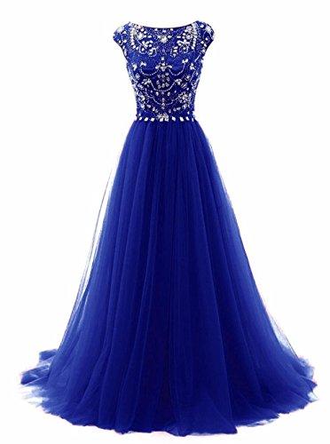 Promworld Women's Wedding Bridesmaid Dress Cap Sleeve Crystal Tulle Long Prom Dresses Royal Blue US2 -