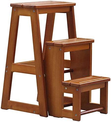 HOMRanger Taburete de 3 escalones Escaleras Plegables de Pino Escalera portátil para el hogar Taburete expandido Silla de Escalera Bastidores de Plantas Carga máxima 150 kg (Color: Color Nogal Claro): Amazon.es: Hogar