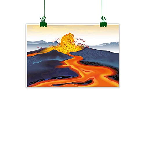 Lava Neon Tube - J Chief Sky Volcano Wall Artwork Vibrant Graphic Display of Eruption Natural Disaster Molten Hot Lava Wall Painting W 24