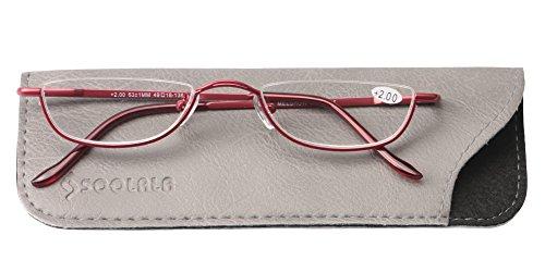 SOOLALA Vintage Designer Alloy Flat Top Half Frame Stylish Slim Reading Glasses, Red, 2.25 by SOOLALA (Image #3)
