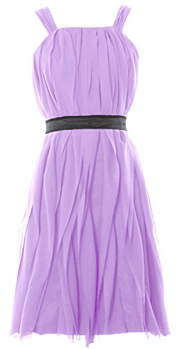 MACloth Women Short Bridesmaid Dress Straps Chiffon Cocktail Party Formal Gown Lavanda