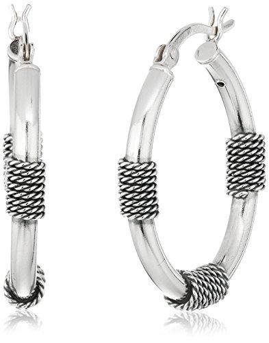 Sterling Silver Balinese Station Hoop Earrings