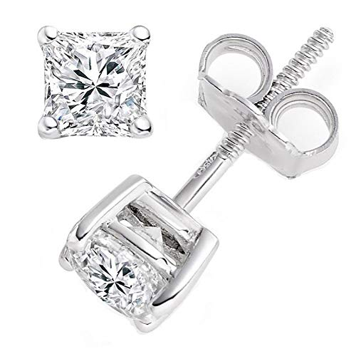 (1.0 ct Brilliant Princess Cut Solitaire Highest Quality Moissanite Anniversary gift Stud Earrings Real Solid 14k White Gold Screw Back)