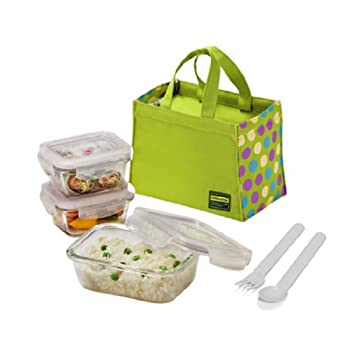 Lock u0026 Lock Glass Euro Lunch Box Set Green Color Dot Pattern Bag  sc 1 st  Amazon.com : sectional lunch containers - Sectionals, Sofas & Couches