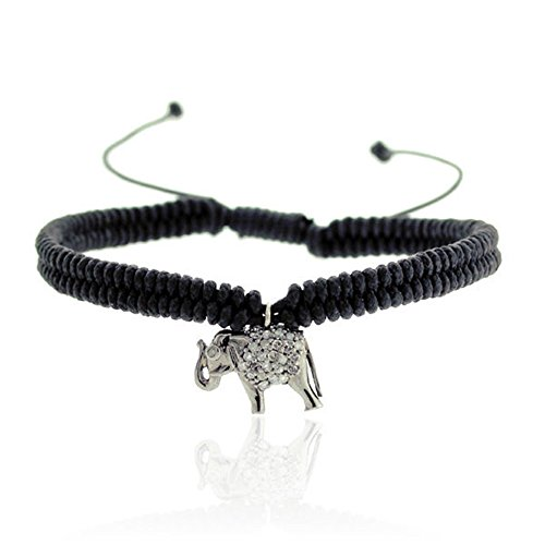 925 Sterling Silver Pave Diamond Elephant Charm Macrame Fashion Bracelet for Women 0.21 Cttw