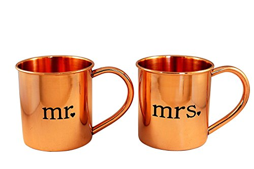 Mr. and Mrs. Copper Mugs for Moscow Mules - 100% pure copper (Best Things To Alch)