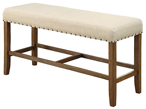 Sania Rustic Counter Height Bench In Ivory Linen