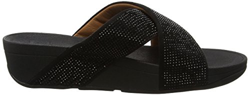 Fitflop Ritzy Slide Sandals, Sandali Punta Aperta Donna Black (Black)