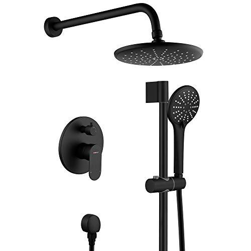 Shower System, Wall Mounted Slide Bar Shower Faucet Set for Bathroom with High Pressure 8' Rain Shower head and 3-Setting Handheld Shower Head Set, Pressure Balance Valve with Trim and Diverter, Black