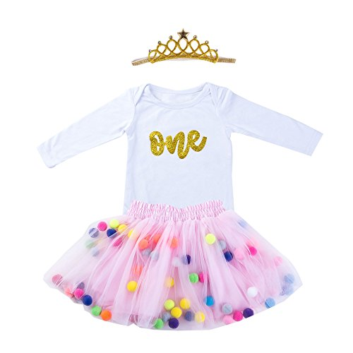d8348a2aa334 Marlegard Baby Girls 1st Birthday Outfit Glitter One Romper Balls Skirt  Crown Headband - Buy Online in Oman.   Apparel Products in Oman - See  Prices, ...