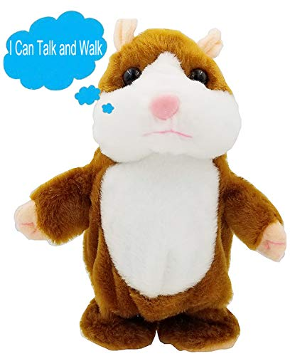 Upgrade Version Talking Hamster Mouse Toy - Repeats What You Say and Can Walk - Electronic Pet Talking Plush Buddy Hamster Mouse for Kids Gift Party Toys (Brown)