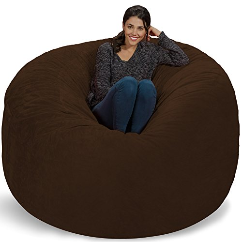 Chill Sack Bean Bag Chair: Giant 6' Memory Foam Furniture Bean Bag - Big Sofa with Soft Micro Fiber Cover - Brown Furry by Chill Sack