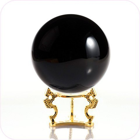 Amlong Crystal Black Crystal Ball 110mm (4.2 in.) Including Golden Dragon Stand and Gift Package (Black Accents Crystal)