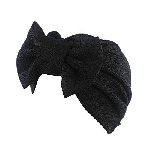 HGWXX7 Women Solid Bow Cancer Chemo Hat Beanie Scarf Turban Head Wrap Cap Headbands(Black)