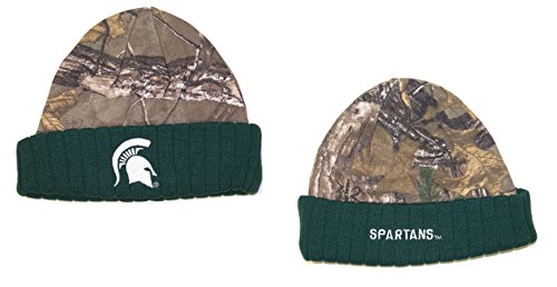 NCAA Officially Licensed Michigan State Spartans Real Tree Ribbed Knit Beanie Hat Cap Lid ()