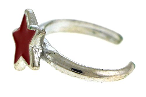 Silver Toe Tone Silver Ring (Silver-Tone Toe Ring With Red Star Design TR47C-Star-RED)