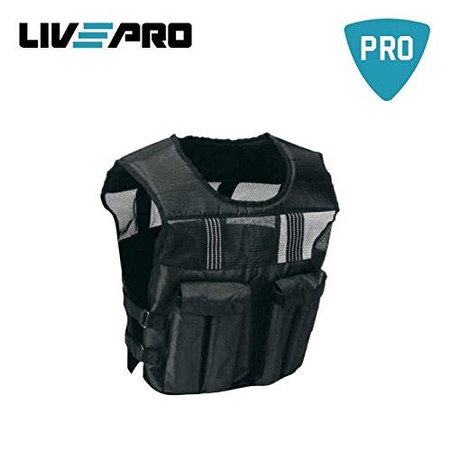 LivePro Weighted Vest Adjustable 20kg Giubbino Gilet Zavorrato Giubbotto Allenamento Palestra Corsa Fitness, schwarz